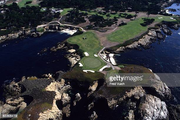 Aerial scenic view of No 16 and No 17 at Cypress Point Club Pebble Beach CA 1/1/1990 CREDIT Fred Vuich
