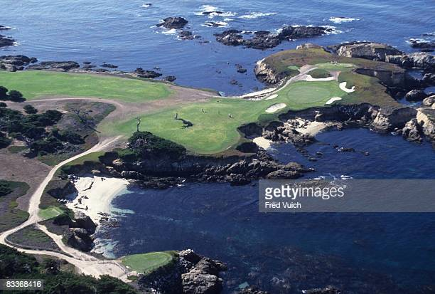 Aerial scenic view of No 16 at Cypress Point Club. Pebble Beach, CA 1/1/1990-- CREDIT: Fred Vuich