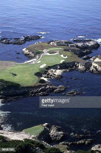 Aerial scenic view of No 16 at Cypress Point Club Pebble Beach CA 1/1/1990 CREDIT Fred Vuich