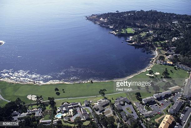 Aerial scenic view of par 5 No 18 at Pebble Beach Golf Links Pebble Beach CA 1/1/1990 CREDIT Fred Vuich