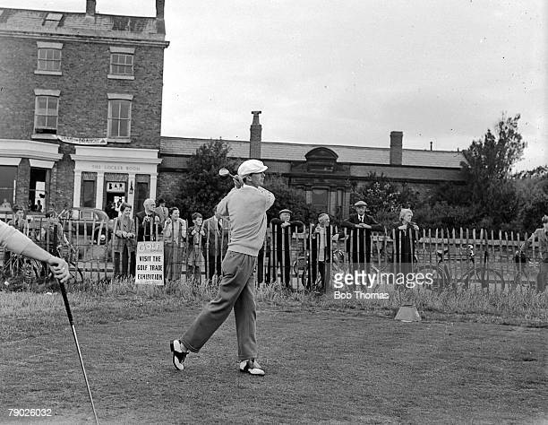 Amateur Open Championships, July 1956, Hoylake, Liverpool, Legendary Irish Amateur golfer Joe Carr is pictured teeing off at the first hole in front...