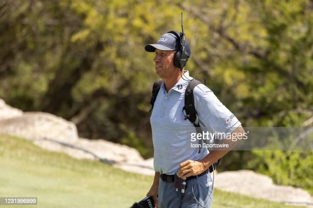 "Golf announcer Jim ""Bones"" Mackay handles the match between Billy Horschel and Scottie Scheffler during the championship finals of the WGC-Dell..."