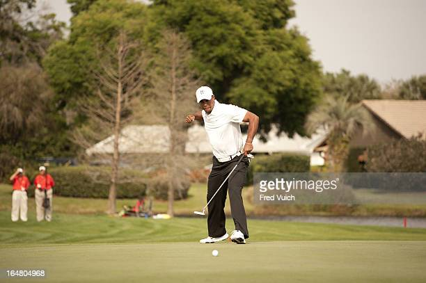 Arnold Palmer Invitational Tiger Woods victorious after making eagle putt on No 16 green during Saturday play at Bay Hill Club Lodge Sequence Orlando...