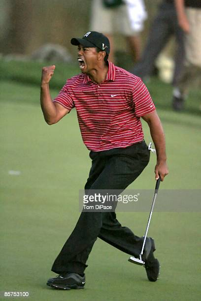 Arnold Palmer Invitational Tiger Woods victorious after making birdie putt on No 18 and winning tournament on Sunday at Bay Hill Club Lodge Orlando...