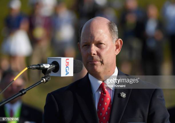 Golf Association CEO Mike Davis speaks during the trophy presentation after the final round of the 2018 U.S. Open at Shinnecock Hills Golf Club on...