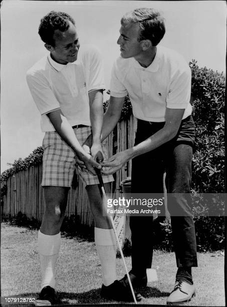 NSW Golf Association Schoolboy Coaching CampJim Cunningham being coached by Cyril Trist December 12 1968