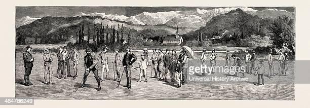 Golf At Pau France Engraving 1884.