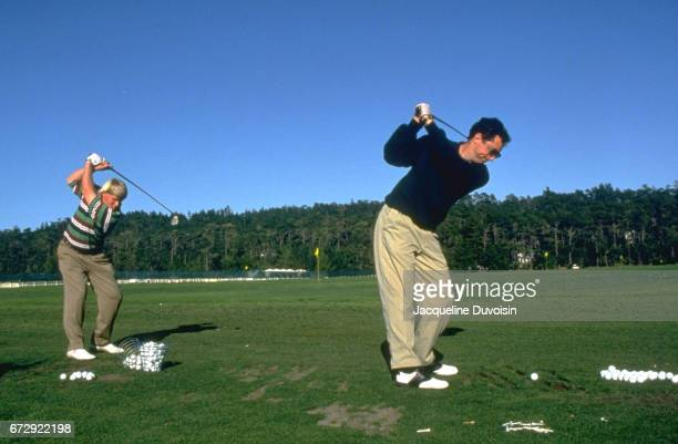 ATT Pebble Beach Pro Am Sports Ilustrated writer Rick Reilly in driving range with John Daly at Pebble Beach Golf Links Pebble Beach CA CREDIT...