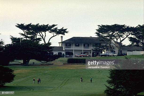 Golf ATT Pebble Beach ProAm Scenic view of No 1 during tournament at Cypress Point Club View of clubhouse in background Pebble Beach CA 1/31/1991