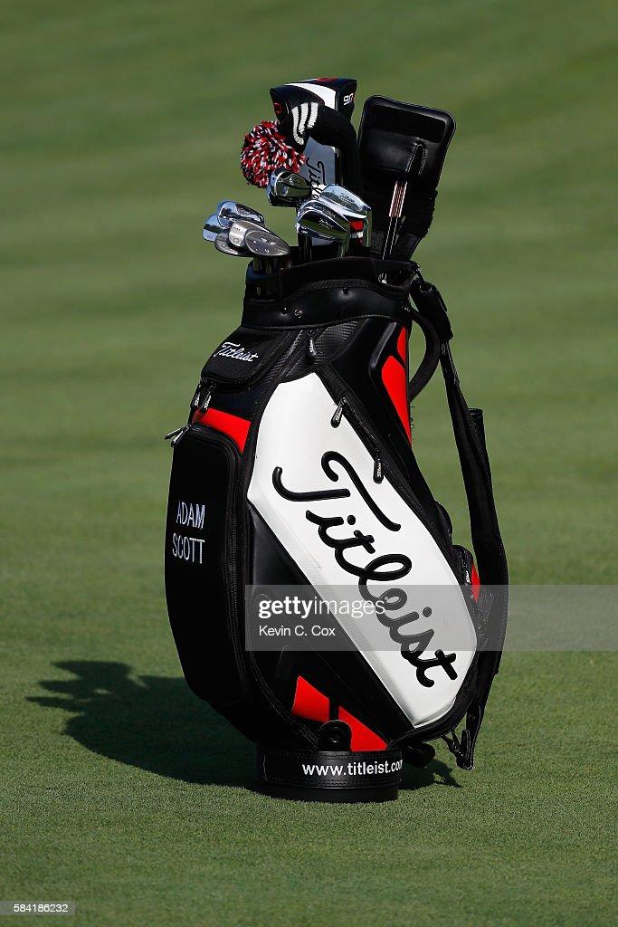 A Golf Bag Belonging To Adam Scott Of Australia Is Seen During The
