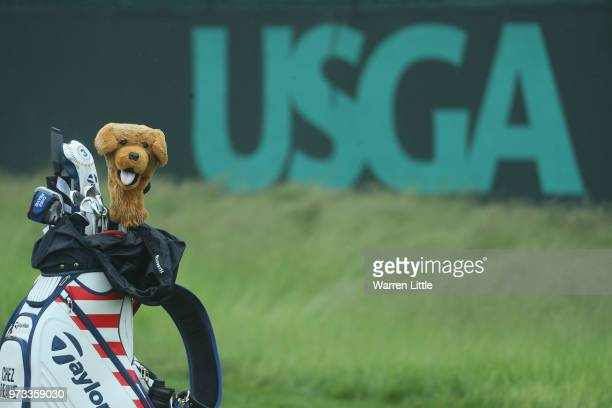 Golf bag belonging to Chez Reavie of the United States is seen alongside a USGA logo during a practice round prior to the 2018 U.S. Open at...