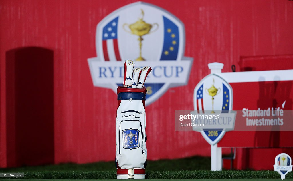 A golf bag honoring Arnold Palmer sits at the first tee during morning foursome matches of the 2016 Ryder Cup at Hazeltine National Golf Club on September 30, 2016 in Chaska, Minnesota.