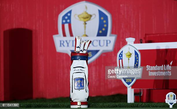 A golf bag honoring Arnold Palmer sits at the first tee during morning foursome matches of the 2016 Ryder Cup at Hazeltine National Golf Club on...