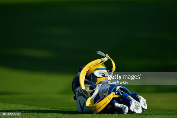 A golf bag lays on a green during the second round of the 2018 PGA Championship at Bellerive Country Club on August 10 2018 in St Louis Missouri