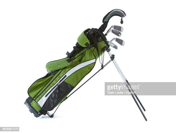 golf bag over white background - golf club stock pictures, royalty-free photos & images