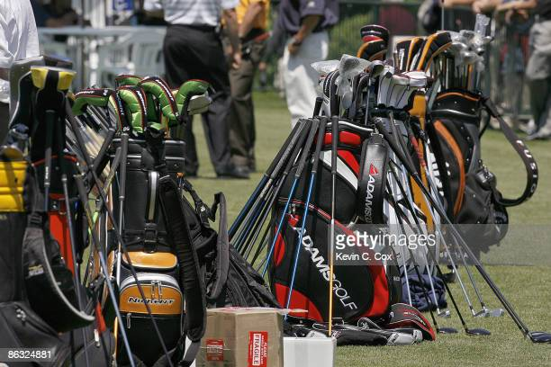 Golf bags line the practice green during a practice round prior to the 2006 Wachovia Championship at the Quail Hollow Club in Charlotte North...