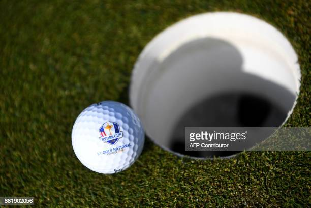 Golf ball bearing the logo of the Ryder Cup is seen during the 2018 Ryder Cup media day on october 16, 2017 at the Golf National in Guyancourt, near...