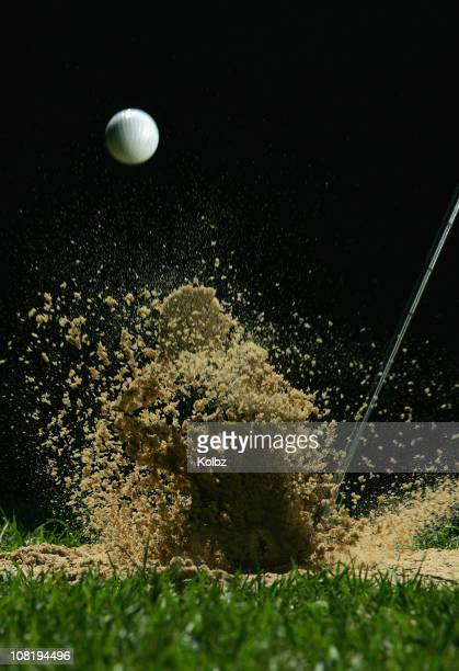 golf ball being hit - sand trap stock pictures, royalty-free photos & images