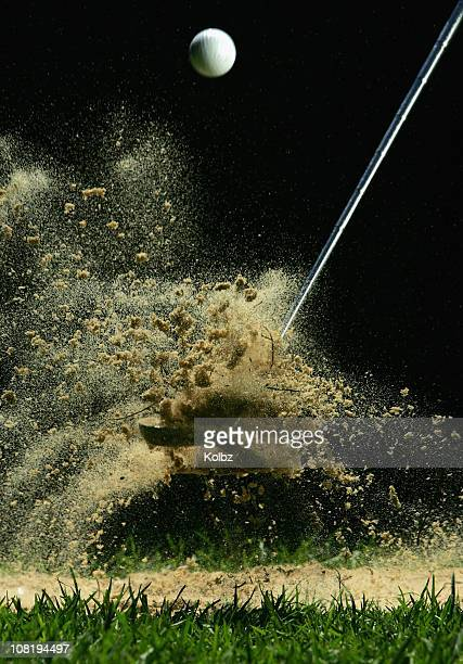 golf ball being hit - drive ball sports stock pictures, royalty-free photos & images