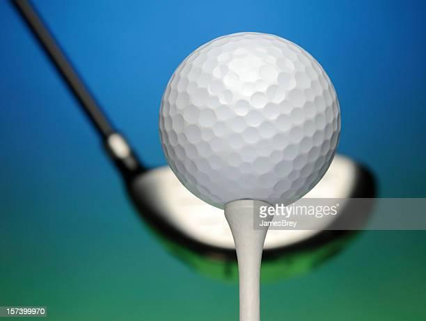 Golf Ball, Driver, Tee, Close-Up, Blue Sky, Green Grass, Course