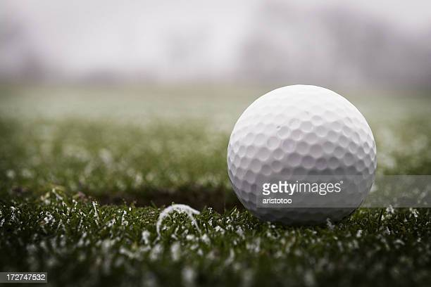 golf ball & frost - golf ball stock pictures, royalty-free photos & images