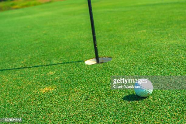 golf ball next to flag on putting green on golf course at sunrise - putting stock pictures, royalty-free photos & images