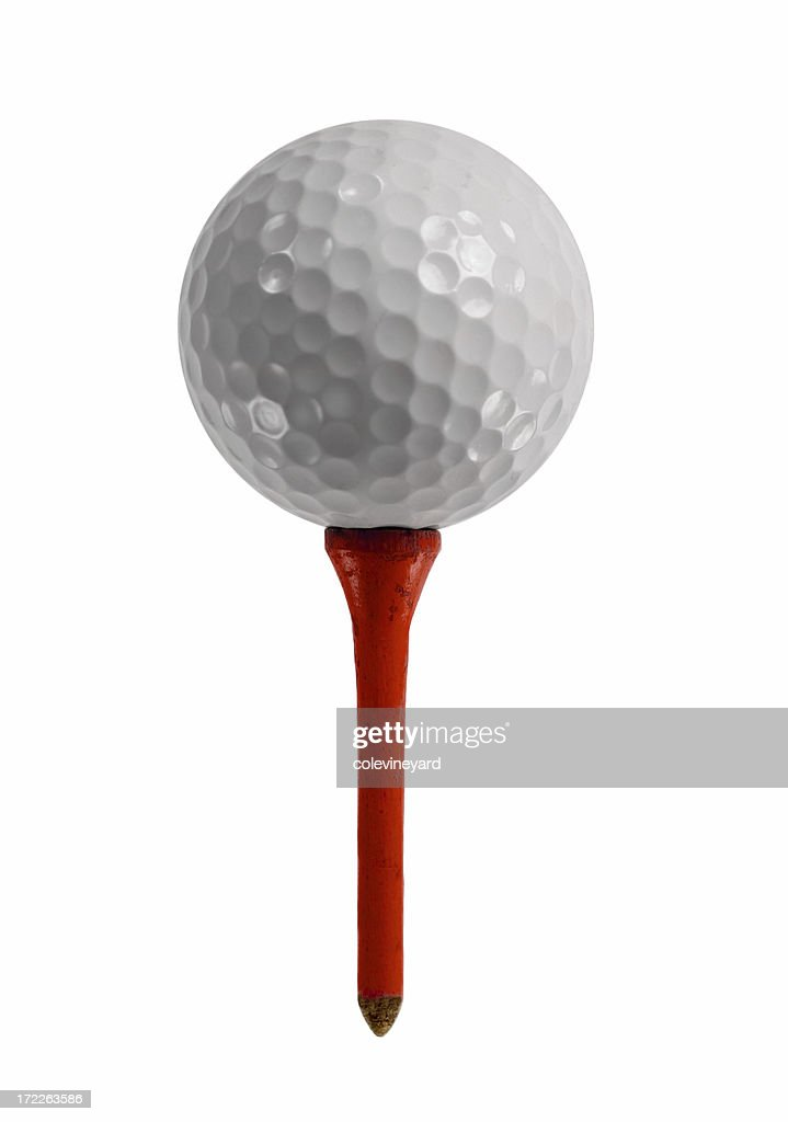 Golf Ball on Red tee : Stock Photo
