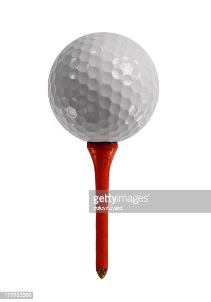 golf ball on red tee - tee sports equipment stock photos and pictures