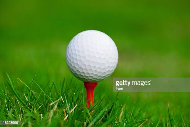 golf ball on tee. green grass. - golf background stock photos and pictures