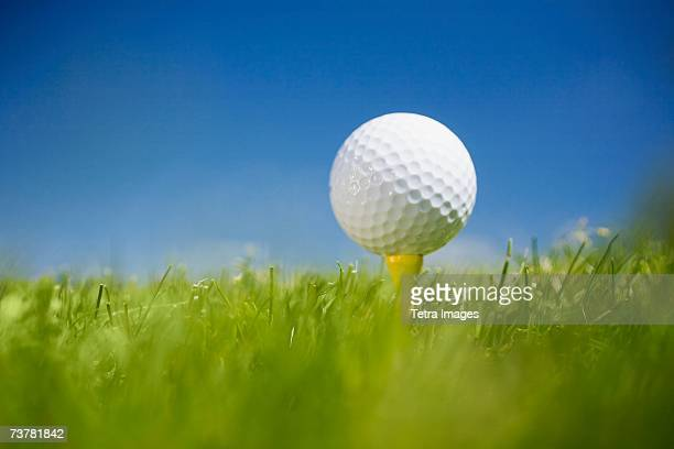 golf ball on tee in grass outdoors - teeing off stock pictures, royalty-free photos & images