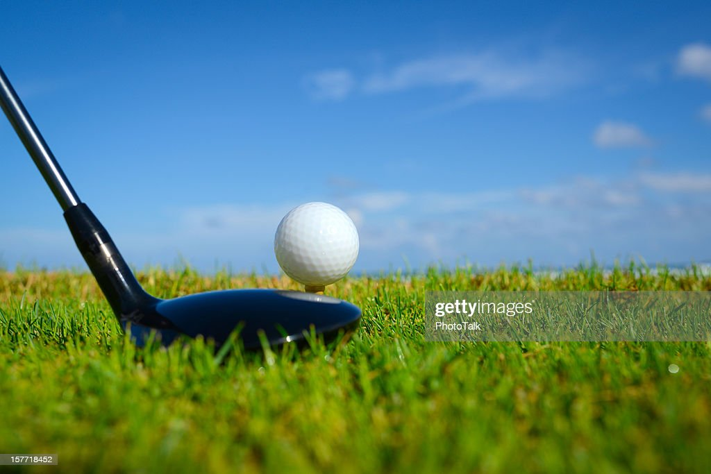 Golf Ball On Tee : Stock Photo