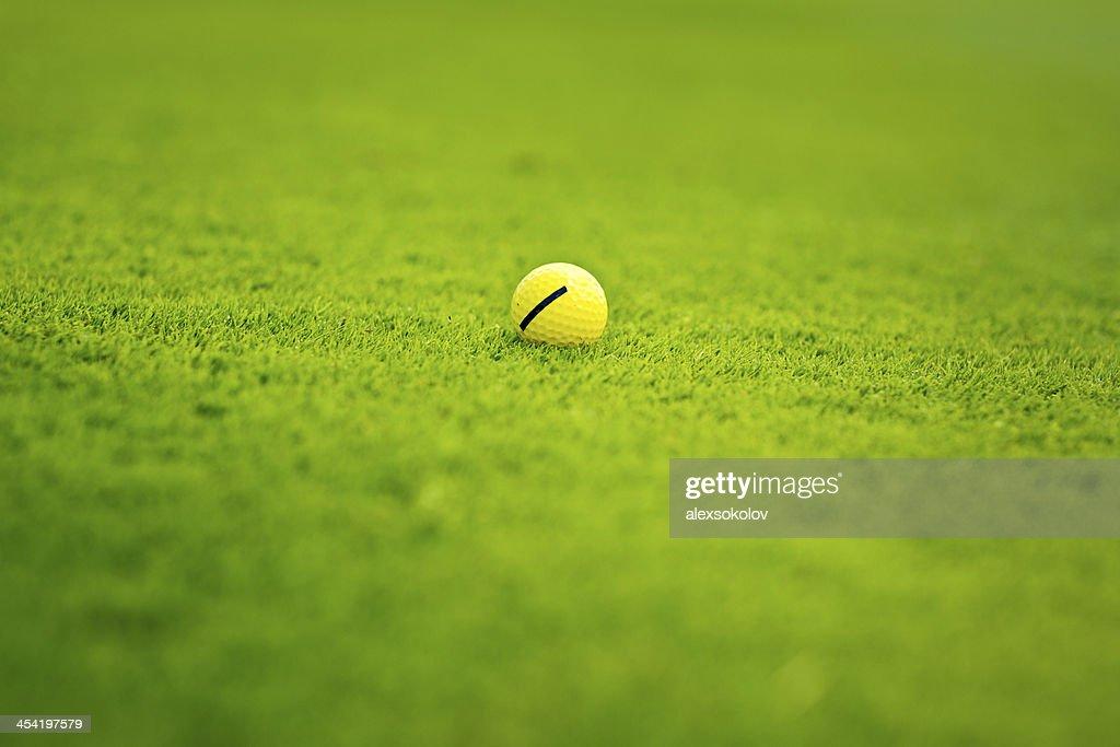 Pelota de Golf en el campo de Golf : Foto de stock