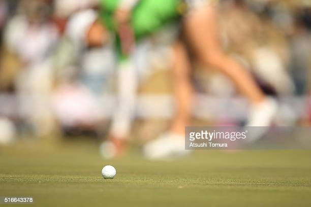 Golf ball on the green during the T-Point Ladies Golf Tournament at the Wakagi Golf Club on March 20, 2016 in Takeo, Japan.