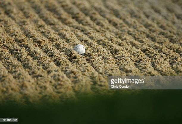 A golf ball sits in the deep grooves of a bunker during the second round of the Memorial Tournament Presented by Morgan Stanley at Muirfield Village...