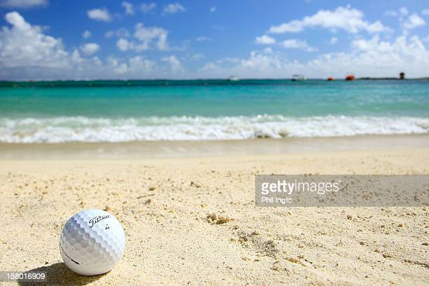 A golf ball sits on the beach during the final round of the MCB Tour Championship played at the Legends Course Constance Belle Mare Plage on December...