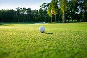 Golf ball sitting on a green with the flagstick nearby