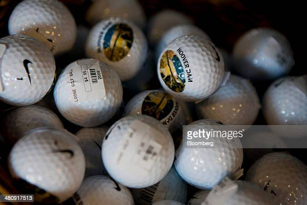 Golf balls are displayed for sale inside the gift shop near the Hoover Dam in Boulder City Nevada US on Monday March 24 2014 Hoover Dam operated by...