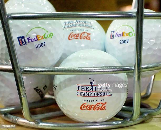 Golf balls are displayed in the merchandise area during the second round of THE TOUR Championship the final event of the new PGA TOUR Playoffs for...