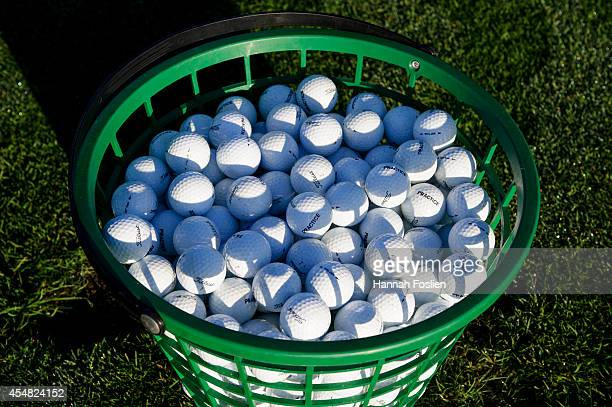 Golf balls are seen at the Regional Finals at the Drive Chip and Putt competition on September 6 2014 in Blaine Minnesota