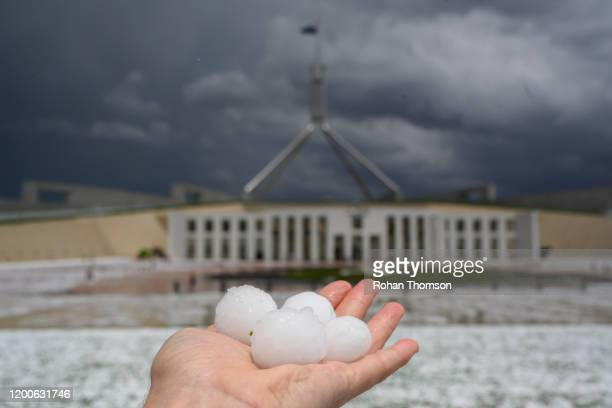 Golf ball-sized hail is shown at Parliament House on January 20, 2020 in Canberra, Australia. The large hailstorm hit Canberra this afternoon, with...