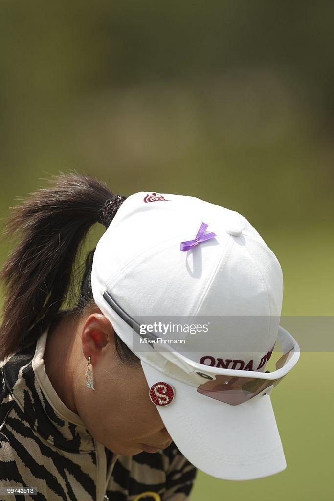 Closeup of ribbon on cap of Se Ri Pak in memorial of Erica Blasberg during Saturday play at Robert Trent Jones Golf Trail at Magnolia Grove. Mobile, AL 5/15/2010