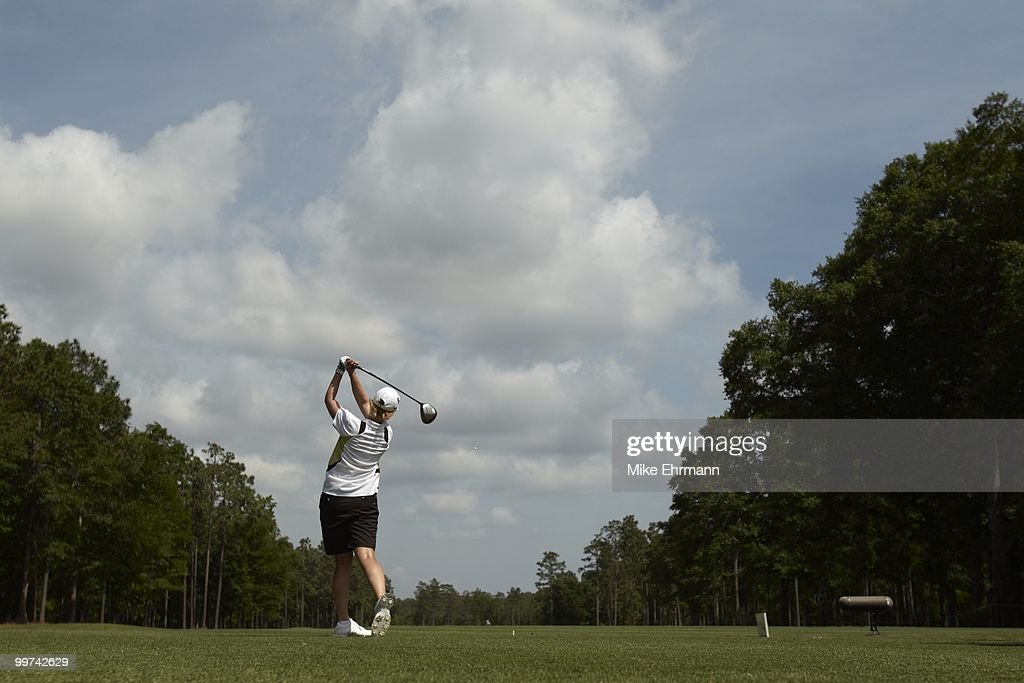 Karrie Webb in action, drive from tee on No 13 during Thursday play at Robert Trent Jones Golf Trail at Magnolia Grove. Mobile, AL 5/13/2010