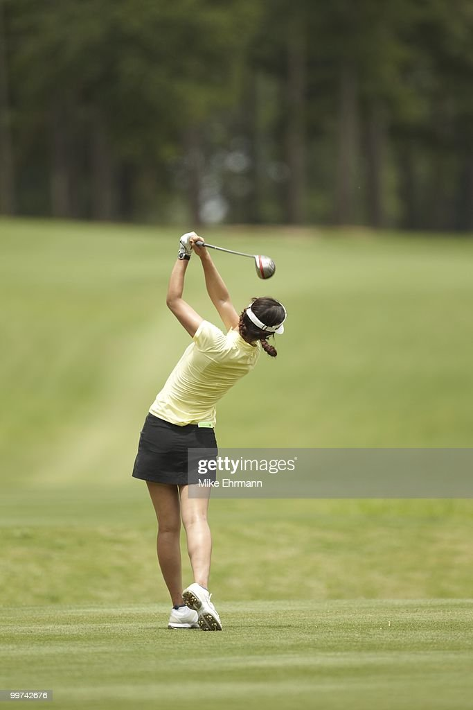 Michelle Wie in action, drive from tee on No 6 during Thursday play at Robert Trent Jones Golf Trail at Magnolia Grove. Mobile, AL 5/13/2010