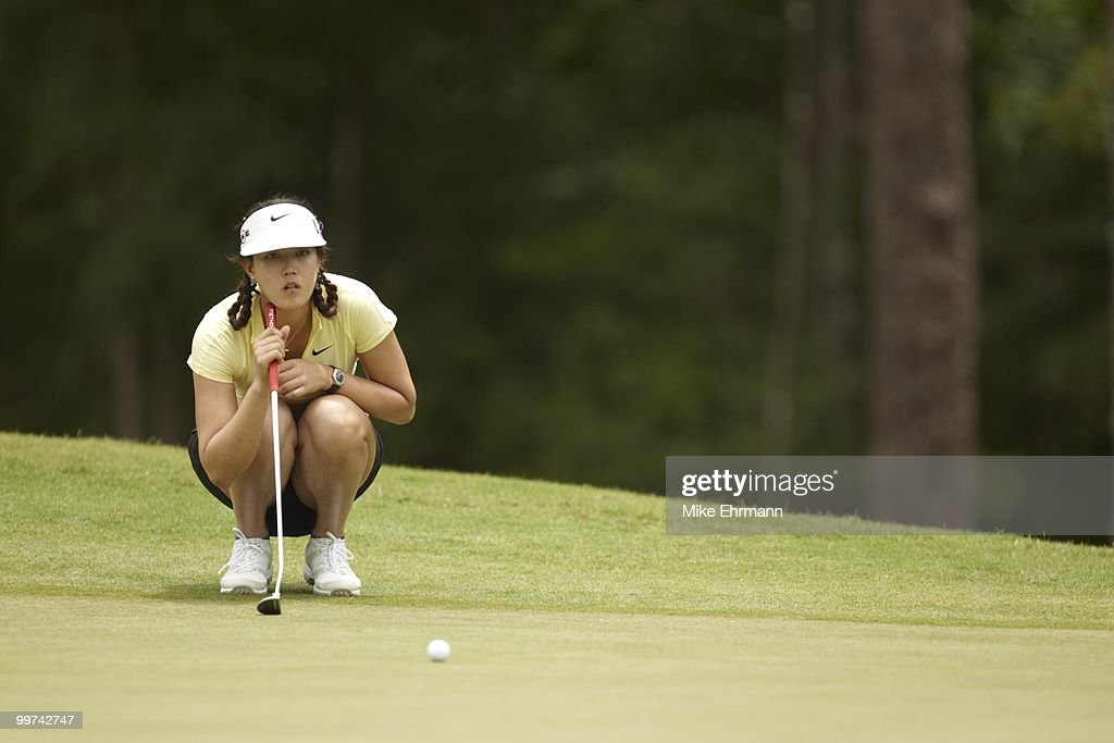 Michelle Wie lining up putt on No 3 green during Thursday play at Robert Trent Jones Golf Trail at Magnolia Grove. Mobile, AL 5/13/2010