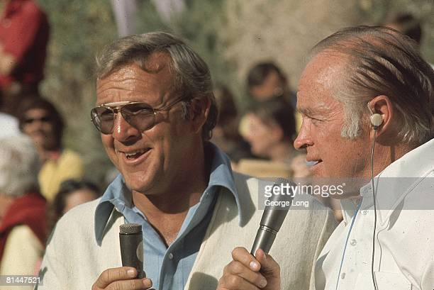 Golf Bob Hope Desert Classic Closeup of Arnold Palmer with comedian Bob Hope during tournament Palm Desert CA 2/6/1974