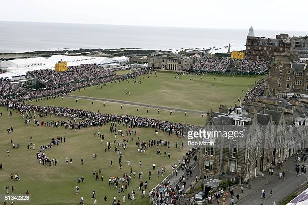 Golf British Open Aerial scenic view of Tiger Woods victorious on No 18 after winning tournament during Sunday play View of fans and clubhouse at Old...