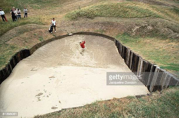 Golf: British Open, Aerial view of Gary Player in action from sand on No, 4 during Friday play at Royal St, George's, Sandwich, England 7/16/1993