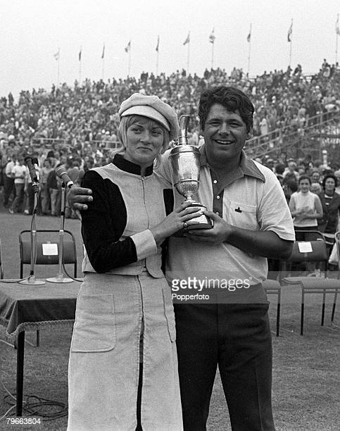 Golf British Open Championship Southport England 11th July 1971 American golfer Lee Trevino holds the Claret Jug trophy as he stands with his wife...