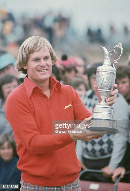 Golf British Open Closeup of Johnny Miller victorious with Claret Jug trophy after winning tournament on Sunday at Royal Birkdale Southport GBR...