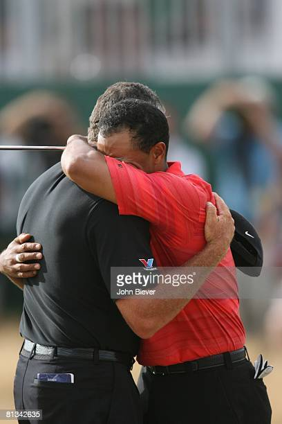 Golf: British Open, Closeup of Tiger Woods victorious, crying and hugging caddie Steve Williams after winning on Sunday at Royal Liverpool GC,...
